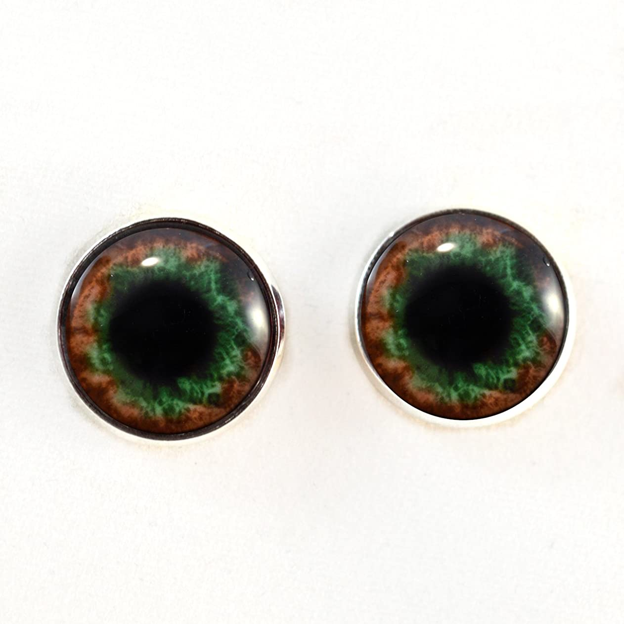 Sew On Eyes Green Brown Human Loops 16mm Glass Eye Cabochons for Fantasy Art Doll Stuffed Animal Soft Sculptures or Jewelry Making Crafts Set of 2 adulljkxjav92540