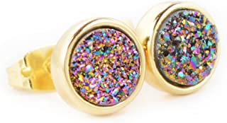 JAB 8mm Round Natural Agate Titanium Druzy Stud Earrings Gold Plated Copper Drusy Jewelry