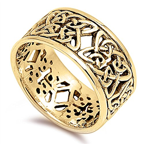 Gold-Tone Celtic Filigree Trinity Flower Ring Sterling Silver Band Size 9