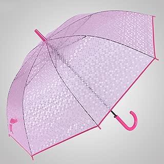Imitation Fish Scale Umbrella Umbrella Hook Long Handle Umbrella Transparent Umbrella Automatic Open Umbrella Princess Umbrella Huhero (Color : Pink)