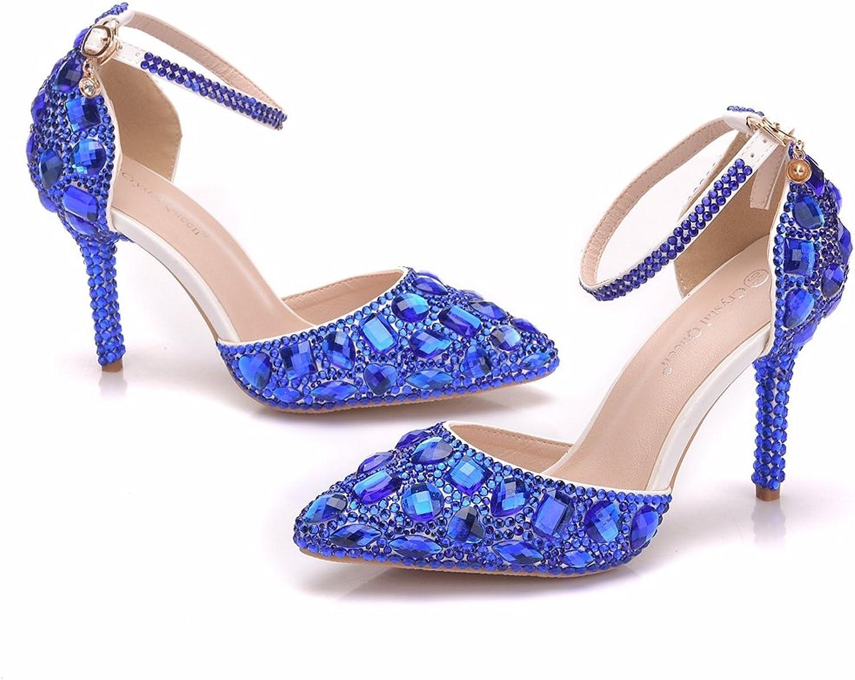 Royal bluee Rhinestone Sandals Thin High Heels Pointed Toe Sandals bluee Crystal Heels shoes Fashion High Heel shoes
