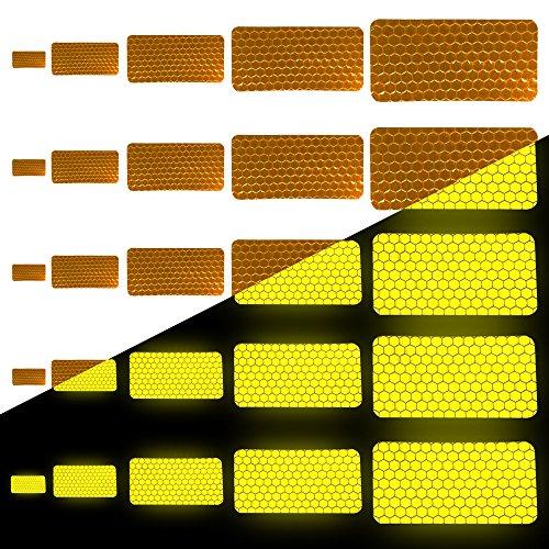 Tuqiang® Forma Rectangular Cinta Reflectante Impermeable Pegatina para Silla de Ruedas Bastón Calzado Alta Visibilidad Cinta Adhesiva Reflectante 25 Piezas Amarillo