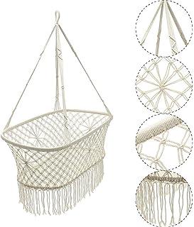Cheerful Hammock Chair White Baby Nursery Bassinet Cradle Hanging Rope Macrame Hammock Chair Swing for Yard Porch Patio