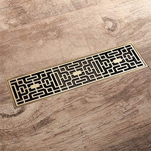 GEPFD-Floor Bodenablauf, Duschablauf aus Messing, rechteckiges Ablaufsystem, Bodenentwässerung für Badezimmer mit großem Durchfluss, Anti-Geruch, Abnehmbares Anti-Verstopfungs-Design (300 x 82 mm)