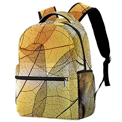 Mochila abstracta transparente de hojas amarillas mochila escolar mochila de viaje casual para mujeres, adolescentes y niñas