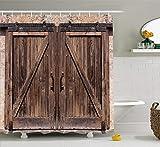 Cortina de ducha rústica Puerta de granero de madera en piedra Imagen de casa de campo Vintage Desgin Arte rural Arquitectura Tela Decoración para baño Conjunto con ganchos 180 CM Extra largo Beige