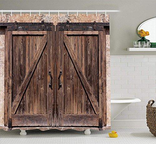 Cortina de ducha rústica Puerta de granero de madera en piedra Imagen de casa de campo Vintage Desgin Arte rural Arquitectura Tela Decoración para baño Conjunto con ganchos 180 CM Largo Beige