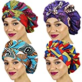 4 Pieces Satin Hair Bonnet Large Soft Sleep Cap African Print Head Scarf Head Wrap Silk Sleeping Bonnet for Women Long Curly Hair