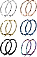 Sponsored Ad - WBRWP 316L Stainless-Steel Piercing-Ring Hinged Nose-Rings-Hoop : 20G 18G 20g 14G Womens and Mens Body Pier...