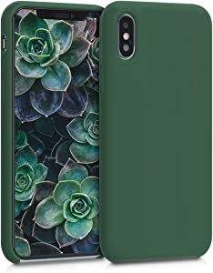 kwmobile TPU Silicone Case Compatible with Apple iPhone Xs - Case Slim Protective Phone Cover with Soft Finish - Dark Green