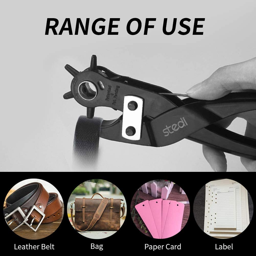Dog Collars Red stedi Leather Hole Punch Kit Handbags DIY or Craft Projects Hand Band for Belt Labor-Saving and Durable Multi Hole Sizes Maker Tool with 6 Round Hole Sizes Rotary Puncher