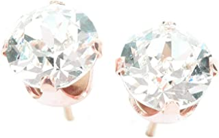 1945e2af6 18ct Rose Gold on 925 Sterling Silver stud earrings for women made with  sparkling Diamond White