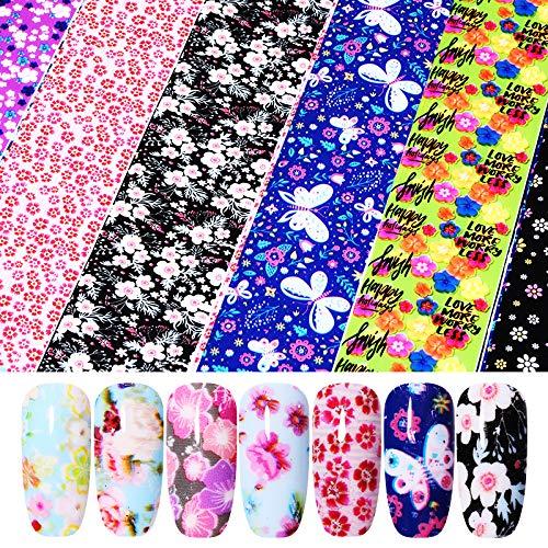 MEIYY Autocollant D'ongle 16 Pcs/Pack Fleur Série Ongles Feuille Autocollants Transfert Stickers Papier Nail Art Décorations Conception Pour Gel Ongles Diy