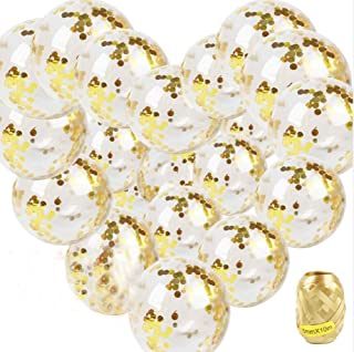 IMPHOM Gold Confetti Balloons Helium Latex Balloons Decoration for Wedding Happy Birthday Party Proposal Baby Shower 12