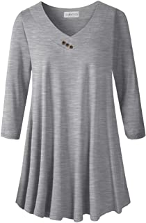 LARACE Women's Plus Size Tunic Tops 3/4 Sleeve V Neck Blouses Basic T Shirt