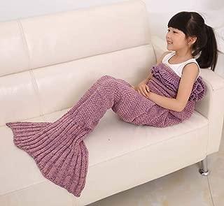 Girls Blanket Zerowin Mermaid Tail Knitted Blanket Sleeping bag L55W27.5inches (light purple)