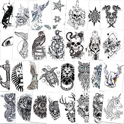 Qpout 30 fogli Tatuaggi temporanei braccio per uomo donna, adesivo tatuaggi braccio impermeabile nero teschio/lupo/serpente mamba/gufo/testa di toro/squalo/cervo/unicorno/remo/fiori/sole