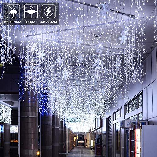 BLOOMWIN Tenda Luminosa 8 modalità 6V a Bassa Tensione 6M * 1M 300 LEDs Sicuri e Romatici Luci Stringa con Ganci per Natale Finestra Anniversario Casa Giardino Bainco