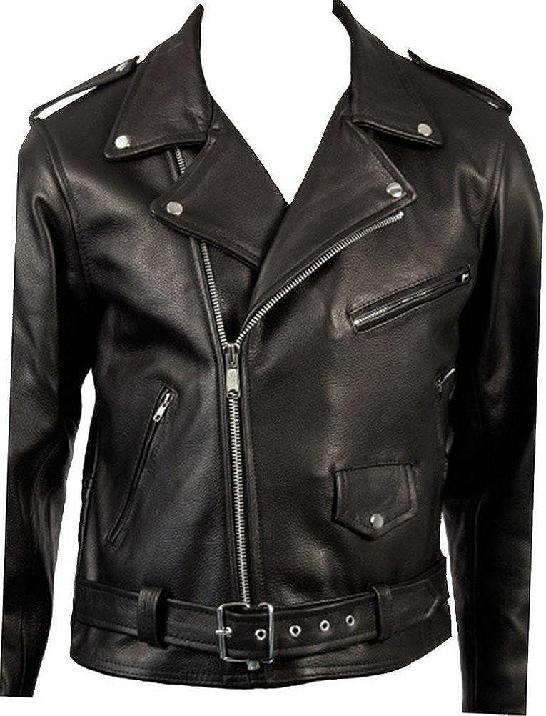 Cow Hide Men's Classic Retro Black Real Leather Brando Motorcycle Biker Jacket