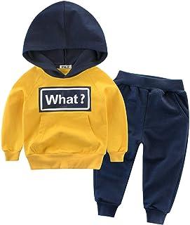 Snyemio Bébé Garçons Sweat Shirt à Capuche + Pantalons Manches Longues Pullover Sport Ensemble Automne Hiver 1-10 Ans