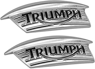1Pair Chrome 3D ABS Motorcycle Fuel Tank Retro Badge Stickers for Triumph
