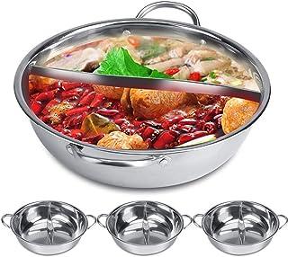 Olla de cocción de acero inoxidable con forma de mandarina y pato, para cocina o sopa, de 30 a 32 cm, doble olla de inducción, de Shabu 30 cm