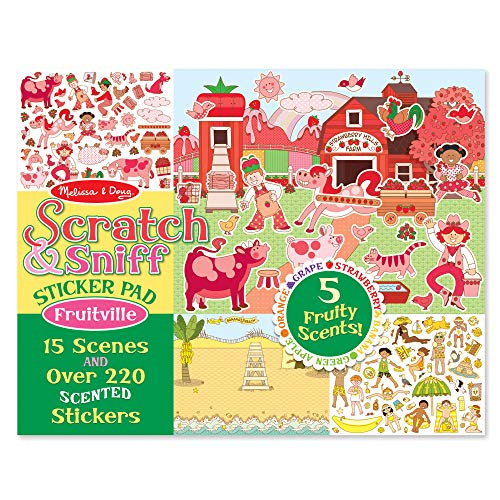 Melissa & Doug Scratch and Sniff Fruitville Sticker Pad Toy, Multi Color