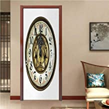 Clock Vinyl Stickers Antique Theme a Vintage Clock with a Face on It Stylish Modern Design Pattern Decal Sticker Gold and White W30 x H80 INCH