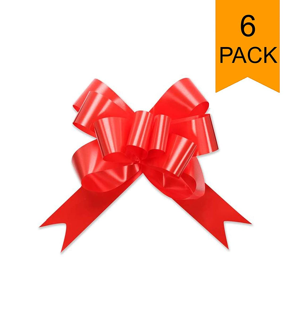 Large Red Shiny Christmas Valentines Gift Wrap Pull Butterfly Bows - 5