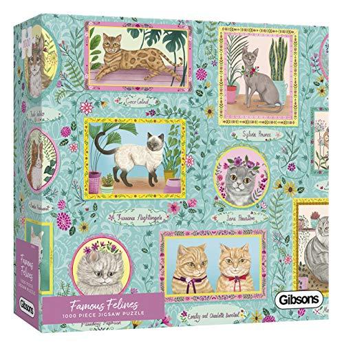 White Logo Collection Famous Felines   Puzzle de 1000 Piezas