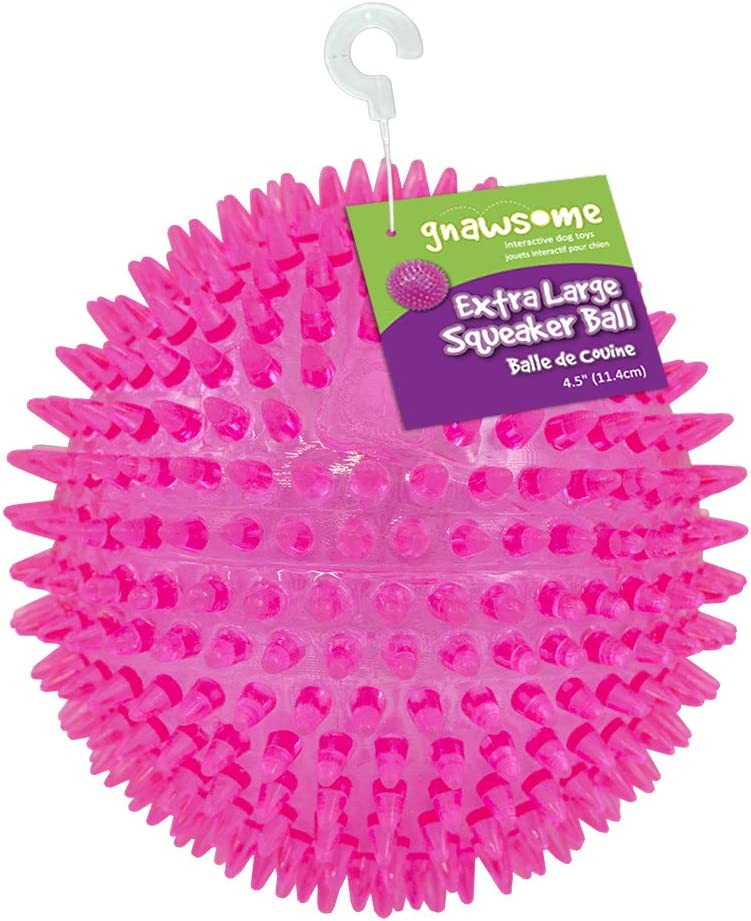 """Gnawsome 4.5"""" Spiky Squeaker Ball Dog Toy - Extra Large, Cleans Teeth and Promotes Good Dental and Gum Health for Your Pet, Colors will vary: Pet Supplies"""
