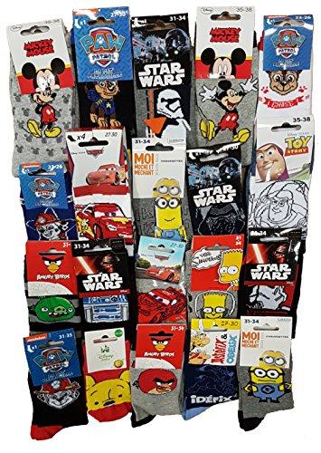 Calzini Motivo: Personaggi Disney Confezione di calzini fantasia, con licenza, assortimento di modelli come da foto. Pack de 10 Paires Modèles Enfant Garçon 27/30