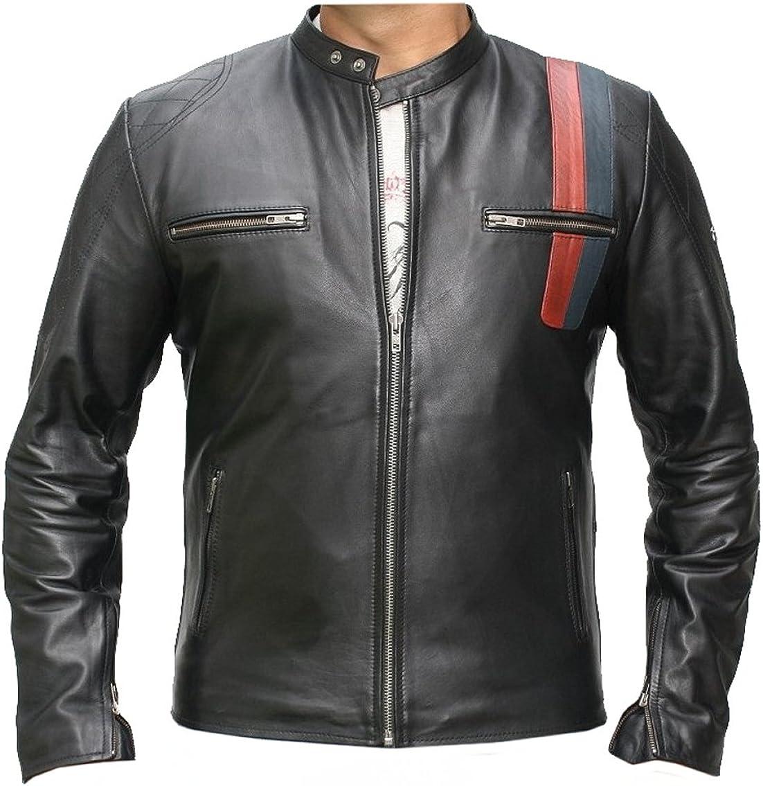 Classyak Men's Black Leather Jacket - Night Rider Sheep Leather