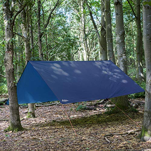 Andes 3m x 3m Tarpaulin - Waterproof, Lightweight, Compact, Strong and Ripstop Tarp for Camping, Blue, Pegs & Guylines Included