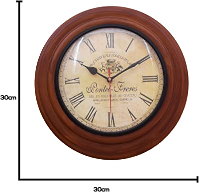 Home Sparkle Wall Clock Engineered Wood (Black & Brown)