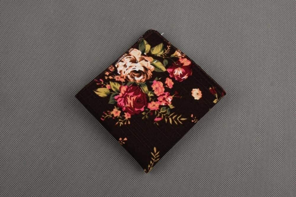 WYKDL Men's Pocket Square Handkerchief Vintage Cotton Pocket Towel Floral Handkerchief