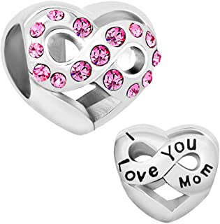 Infinity Heart Love I Love You Wife Charm Beads for Bracelet
