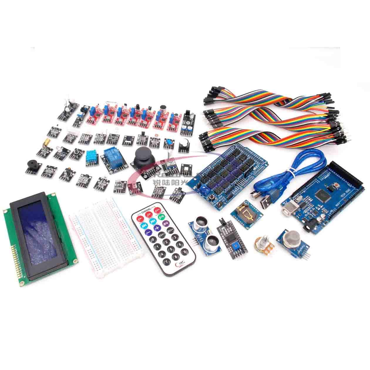 Bluetooth Module NRF24L01 etc Most Complete Ultimate Starter Kit 51 in 1 Sensors Modules DHT11 1602 Display Ultrasonic Sensor with Lessons CD Compatible with Arduino IDE R3 board MEGA2560 Nano