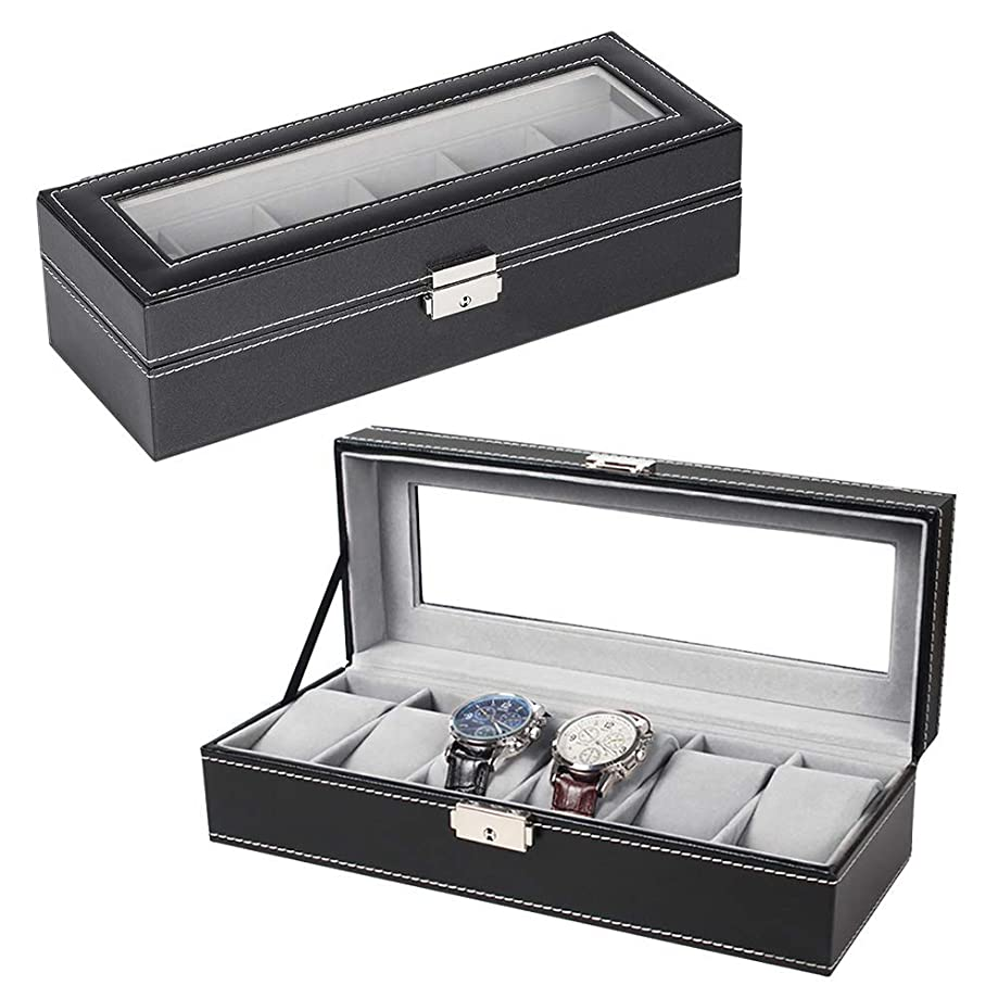 zixijiaju Glass Lid 6 Watch Jewellery Display Storage Box Case Bracelet Tray Leather Black