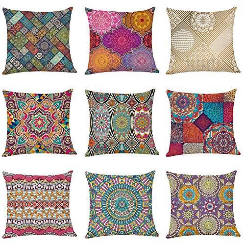 WAZA Set di 9 federe per cuscino in morbido lino, quadrate, per divano, letto, auto, stile moderno, 45 x 45 cm (Datura)