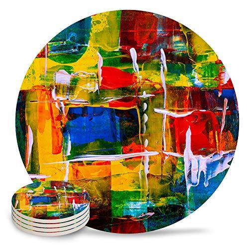 Posavasos de cerámica para bebidas, diseño de huevos de Pascua con diseño de conejo, piedra absorbente, de cerámica con parte trasera de corcho para tipos de tazas y tazas, posavasos de mesa redonda blanca (juego de 4/6/8), cerámica, Pintura al óleo7836, 6-Piece Set