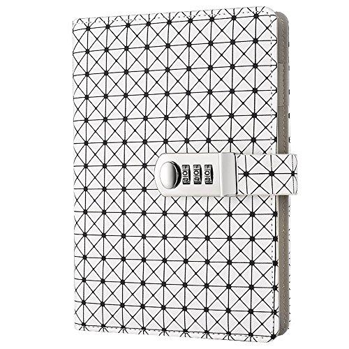 Lirener PU Lederbuch Wieder Auffüllbar Tagebuch Notizbuch Notebook Skizzenbuch Journal Planer Organizer(Gitter Muster), A5 Notebook Sketchbook Memo Tagebuch Mit Schloss Code Passwort, 210x145mm