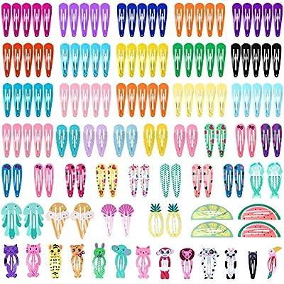 Cridoz 150 Pcs Barrettes Hair Clips, Clips for Hair, Hair Barrettes Snap Colorful Metal Hair Clips for Hair Accessories