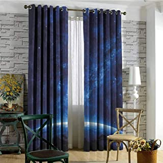 hengshu World Room Darkened Insulation Grommet Curtain Earth View at Night from Space Atmosphere Stars Fantastic Cosmic Galaxy Nebula Living Room W84 x L108 Inch Blue and White