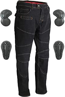 Men & Women Motorcycle Riding Jeans, Motorbike Protective Pants, Motor Bicycle Trousers with CE Hip & Knee Armor Pads VES3 (Black, S)