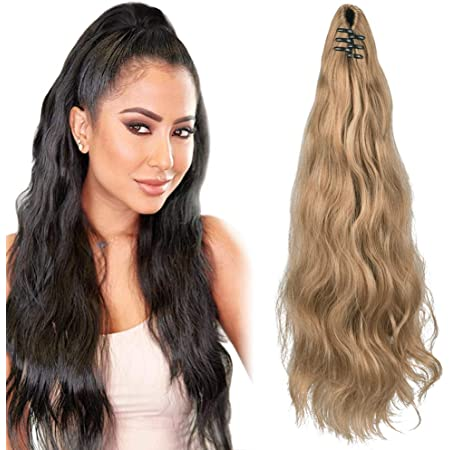 """SEIKEA Ponytail Extension Claw Clip 16"""" 24"""" Long Wavy Curly Hair Extension Jaw Clip Ponytail Hairpiece Synthetic Pony Tail (24 Inch (Pack of 1), 27/613)"""