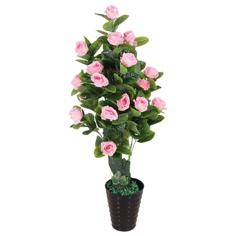 ぐるぐる放送取り除く人工植物の家庭やオフィスの装飾、人工人工花人工バラと黒の植木鉢結婚式、3色のオプション (Color : Pink)