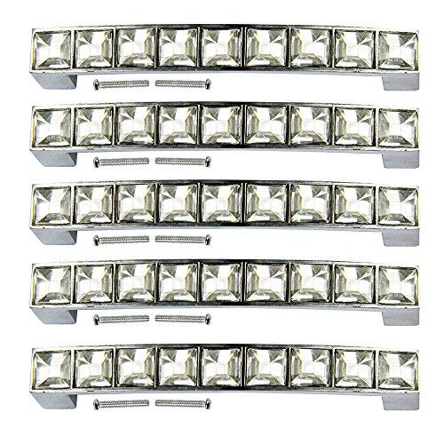 Lot de 5 poignées de tiroir en strass et verre cristal de chez PsmGoods® - Pour commode, armoire de cuisine, placard