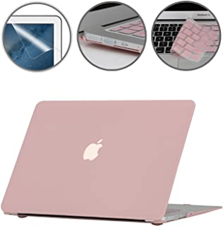 i-Buy Funda Dura Compatible con Old MacBook Air 13.3 Pulgadas 2010-2017(Model A1369 A1466)+ Teclado Cubierta + Protector de Pantalla + Enchufe del Polvo - Cuarzo Rosa
