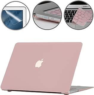 i-Buy Mate Caso de Shell duro + cubierta del teclado + Protector de pantalla + enchufe del polvo para Apple Macbook Air 13 pulgadas (Modelo A1369 A1466)- Cuarzo Rosa